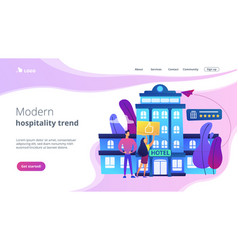 Lifestyle hotel concept landing page vector