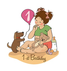 Little girl with at her first birthday vector