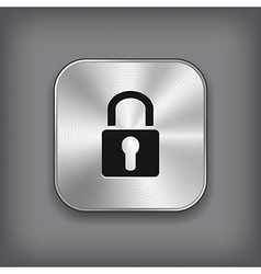 Lock icon - metal app button vector