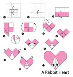 Make origami a rabbit heart vector