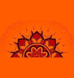 mandala pattern on orange background vector image