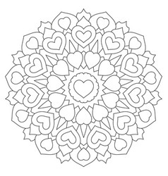 Mandala with hearts coloring book page vector