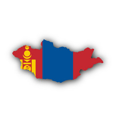 Map and flag of mongolia vector