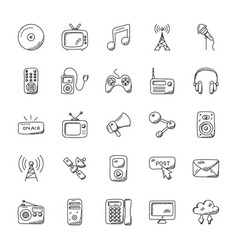 Media icons doodle set vector