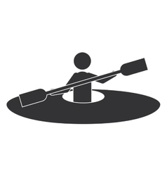 monochrome silhouette with man and kayak rowing vector image