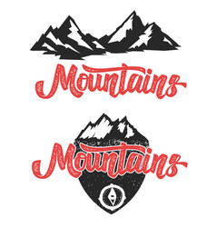 Mountains hand drawn lettering with mountain icons vector