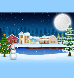 Night winter village landscape with christmas tree vector