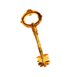 Old antique glossy door key with rust on white vector