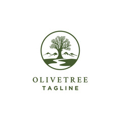olive tree logo designs with creeks or rivers vector image