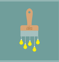paintbrush icon with yellow light bulb drops vector image