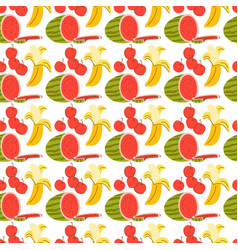 pattern seamless with fruit element doodle vector image