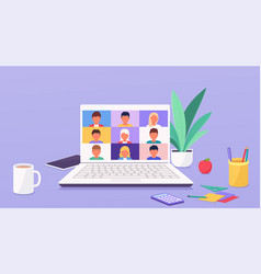 People talk or learning online teleconference vector