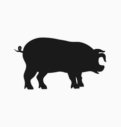 pig icon silhouette pig isolated on white vector image