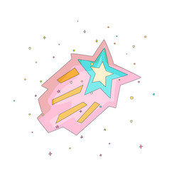 Pink and blue cartoon funny shooting star vector