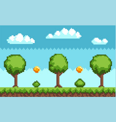 Pixel-game background with coins flying in sky vector