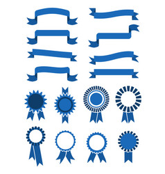 retro blue banner ribbons and badges for vector image vector image