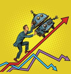 Robotization and technical revolution concept vector
