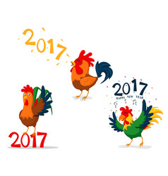 rooster cartoon character china new year vector image