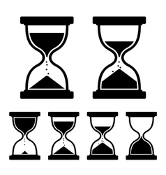 Sand Glass Clock Icons Set vector image
