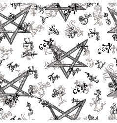 seamless background with pentagram and alchemy sym vector image