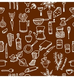 Seamless pattern on a kitchen theme Variety of vector image