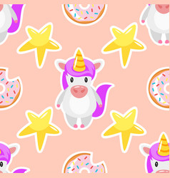 Seamless pattern with unicorn vector