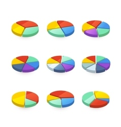 set colorful pie diagrams on white vector image