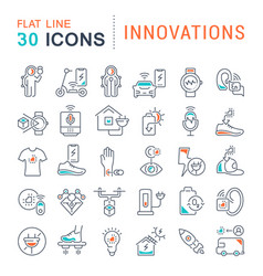 Set line icons innovations vector