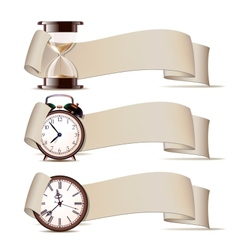 Set of banners with clocks vector image