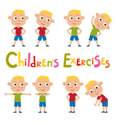set of blonde boys in exercises poses vector image