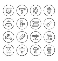 set round line icons of plumbing vector image