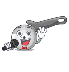 Singing pizza cutter cartoon in the kitchen vector