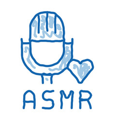 Sound in microphone asmr doodle icon hand drawn vector