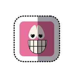 Sticker square colorful shape emoticon happy in vector
