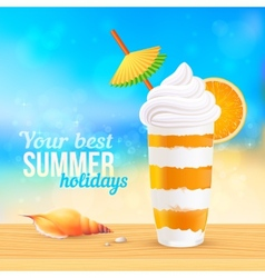 Summer creamy cocktail with orange slice vector