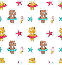 summer seamless pattern with funny bear vector image