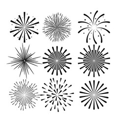 sunburst decorative set icons vector image