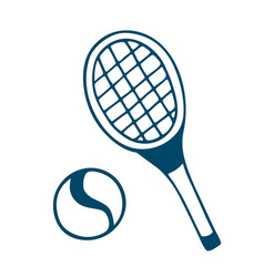 tennis racket icon in doodle style isolated on vector image