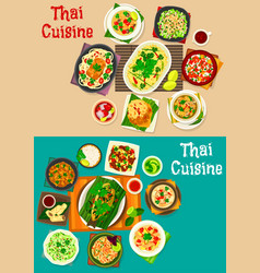 Thai cuisine icon set with traditional asian food vector