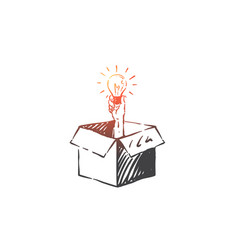 Thinking outside box concept sketch hand drawn vector