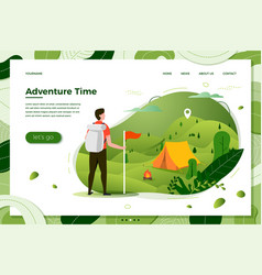 tourist man camping place with bonfire vector image