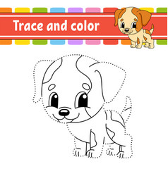 Trace and color dog animal coloring page for kids vector