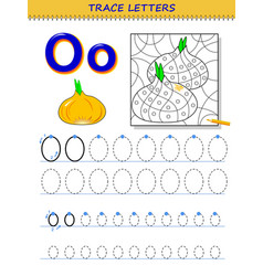Tracing letter o for study alphabet printable vector