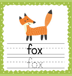 Tracing words flashcard - fox phonetic words in vector