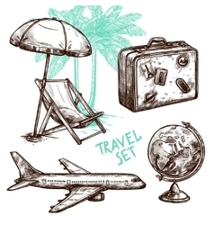 Travel sketch decorative icon set vector