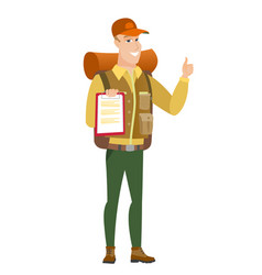 traveler with clipboard giving thumb up vector image