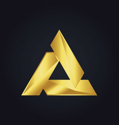 Triangle gold shape logo vector