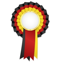 Tricolor rosette with black yellow and red ribbon vector