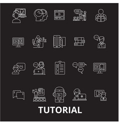 tutorials editable line icons set on black vector image