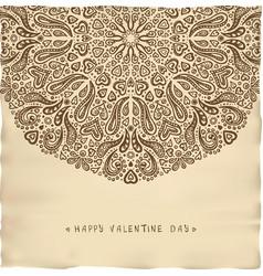 Vintage parchment valentine card vector